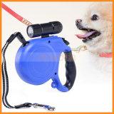 correo retractable de nylon del perro de animal doméstico de la longitud LED de los 5m con la luz brillante del perro de animal doméstico de la seguridad de la noche de la linterna de 9 LED