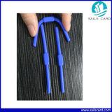 Etiqueta dura de la moneda del ABS RFID o etiqueta suave del silicón RFID de la dimensión de una variable larga para la identificación de la ropa que sigue en lavadero