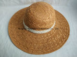 Sombrero de paja hecho a mano del borde de la playa del estilo del cordón grande de Floopy