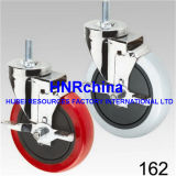 Rote PU-steife Platten-oberste industrielle Fußrolle