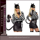 Оптовый черный PVC Catsuit женское бельё женщины кота Fullbody комбинезона (TGP867)