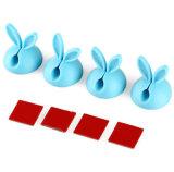 Línea ordenada alambre del USB del escritorio de los clips de la gota del cable del palillo del oído de conejo del silicón