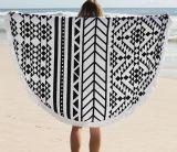 2016熱い販売の綿のふさが付いている円形のビーチタオル