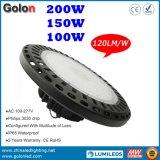 5 anos preço de fábrica IP65 da garantia de bom Waterproof a luz do diodo emissor de luz Highbay do UFO de 100W 150W 200W