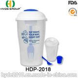 BPA освобождают пластичную чашку трасучки салата с одевать чашку (HDP-2018)