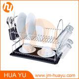 Кром-Покрынный стальной шкаф тарелки 2-Tier с Drainboard и чашкой Cutlery (чернота)