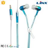 Qualitäts-kundenspezifisches Firmenzeichen-bunter Metallreißverschluss-Kopfhörer mit Mic