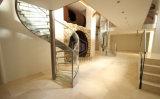 Escalera espiral del acero inoxidable con la pisada de madera de roble/el diseño moderno