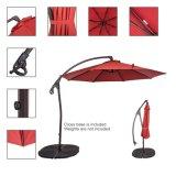 10 pieds extérieurs d'aluminium de parapluie excentré de patio avec la poussée de main, 8 côtes en acier (rouge de brique)