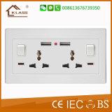 BRITISCHE Gruppe 2 des Standard-2 USB-Portwand-Aufladeeinheits-Netzschalter-Kontaktbuchse
