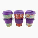 Reusable Biodegradable Bamboo Fiber Cup with Silicone Lid and Holder