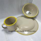 Enamelware表のティーカップの版の一定のエナメルの受皿のキャンプのコップの錫の鉄ボール