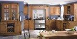 Cozinha luxuosa gabinetes de cozinha personalizados da madeira contínua para a venda