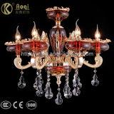 Indicatore luminoso a cristallo di vetro rosso in lega di zinco dorato del lampadario a bracci