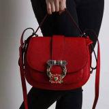 걸쇠 모조 다이아몬드 Emg4937를 가진 Handbag 형식 디자인 어깨에 매는 가방 진짜 가죽 숙녀