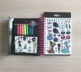 Libro del bosquejo de la manera del monstruo mini con las etiquetas engomadas y las etiquetas de plástico