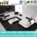 現代居間の白革LEDの軽い部門別のソファー(HC1093)