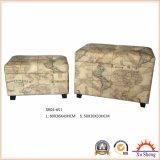 世界地図の印刷された装飾された上昇の上リネンプリント記憶のオットマンのベンチの木のトランク
