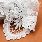 L60016豪華で白い花のモチーフのレースは標準的な販売法のための首パッチを模造した