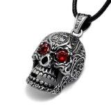 Jóia gótico do aço inoxidável do pendente 316L da colar do Zircon do crânio