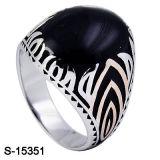 925 anéis de prata dos homens de Hotsale da jóia com esmalte preto