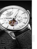 2016 relógios de pulso de couro automáticos dos homens do aço inoxidável do projeto da forma