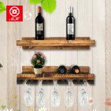 木製のワインラック壁に取り付けられた4瓶ガラスのホールダー及び棒ハングの棚