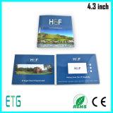 Do convite feito sob encomenda audio do cartão video de 4.3 polegadas cartão video do vídeo do fabricante do cartão do LCD