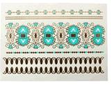 etiqueta engomada temporal impermeable metálica azul del tatuaje del oro de la manera