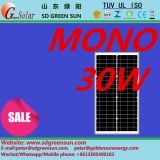 el mono panel solar de 18V 30W para el sistema 12V