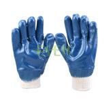 2017 gants lourds enduits obtenus neufs de sûreté de PPE des nitriles 3/4 bleu
