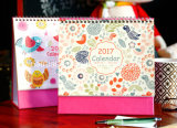 Calendario de escritorio a todo color de encargo de la impresión 2017, venta al por mayor del calendario del vector