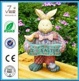 Décoration de jour de Pâques de sculpture en lapin de métier de résine (JN04)