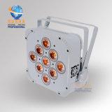 La IGUALDAD delgada barata de la luz LED de la IGUALDAD del patio LED del precio 9*10W 4in1 RGBA/RGBW de la caja blanca puede para el partido del acontecimiento de la etapa