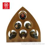 O vinho creativo da pirâmide de madeira de 6 frascos submete o suporte