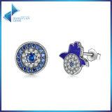925의 순은 파란 결정 신의 손 장식 못 귀걸이, 명확한 CZ 순은 귀걸이