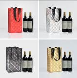 2 Flaschen-Wein-Beutel, Metallfarben-nichtgewebter Laminierung-Wein-Beutel