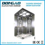 Elevatore Gearless del passeggero della stanza della macchina di Vvvf piccolo con lo specchio che incide rivestimento dell'acciaio inossidabile