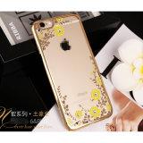 Caisse de galvanoplastie de diamant de la fleur TPU de couverture de téléphone mobile pour iPhone6 6plus