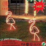 Ornamentos de jardim à prova d'água Pink LED 2D Flamingo Escultura Neon Motif Lights for Christmas