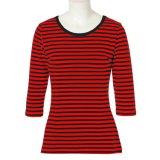 カスタムTシャツの卸売中国は女性の女性によって縞で飾られる上に着せる