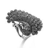 Anillo del dedo anular Negro del pavo real de las señoras de la vendimia de plata Vagula Wen S108