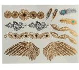 Autoadesivo provvisorio impermeabile metallico del tatuaggio della piuma d'argento dell'ala dell'oro
