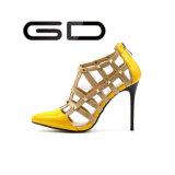 Le santal sexy de pompes de dames d'approvisionnement de fabrication rivette des chaussures de talon haut