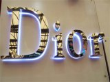 Le attrezzature di identità di affari della costruzione hanno illuminato la grande lettera dell'iscrizione del segno 3D delle lettere composte
