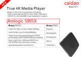 Mieux cadre androïde 2GB+8GB de Caidao Ott Tvbox 4k TV de faisceau de quarte d'Amlogic S905X de l'androïde 6.0