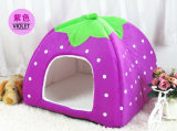 Stawberry Design Fleece Dog House Pet Bed