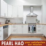 Gabinete de madeira branco dos armários da cozinha do vidoeiro do projeto moderno