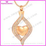 水晶ステンレス鋼の火葬の宝石類の中心は壷のネックレスに灰を振りかける