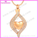 Coeur en cristal Acier inoxydable Crémation Bijoux Cendres Collier Urne